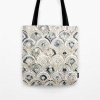 Monochrome Art Deco Marble Tiles Tote Bag
