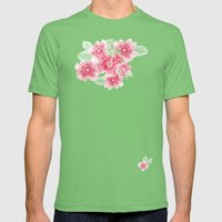 Summer Blossoms Diagonal Stripes Mens Fitted Tee Grass SMALL