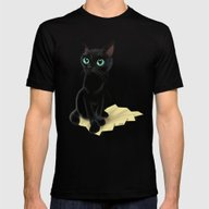 Black Little Kitty Mens Fitted Tee Black SMALL