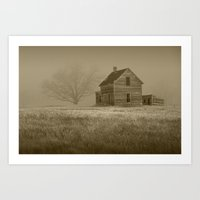 Sepia Toned Photograph of an Abandoned Farm House in an Early Morning Fog Art Print