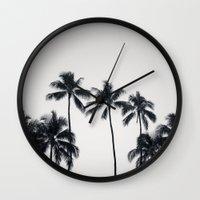 Palmtreeeeeee Ver.black Wall Clock