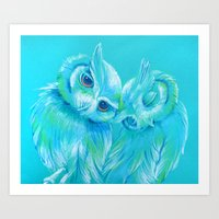 Lovey Owls Art Print