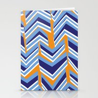 Blue, Orange and White Chevrons Stationery Cards