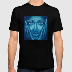 look at me-blue SMALL Black Mens Fitted Tee