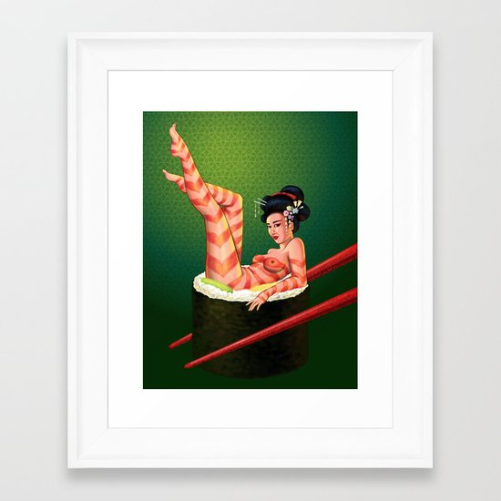 Sushi Girl Framed Art Print