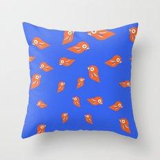 Pretty Orange Birds Throw Pillow