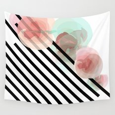 Watercolor Floral with Stripes Wall Tapestry