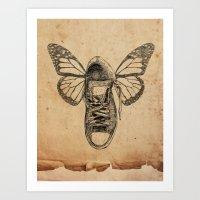 Flying Sneakers Art Print