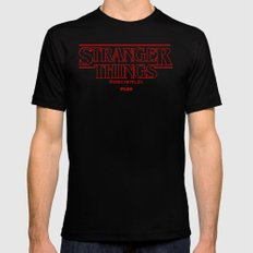Pixel Stranger things Mens Fitted Tee Black SMALL