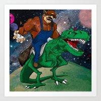 Raccoon Dino Rider.... Art Print