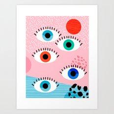 Noob - eyes memphis retro throwback 1980s 80s style neon art print pop art retro vintage minimal Art Print