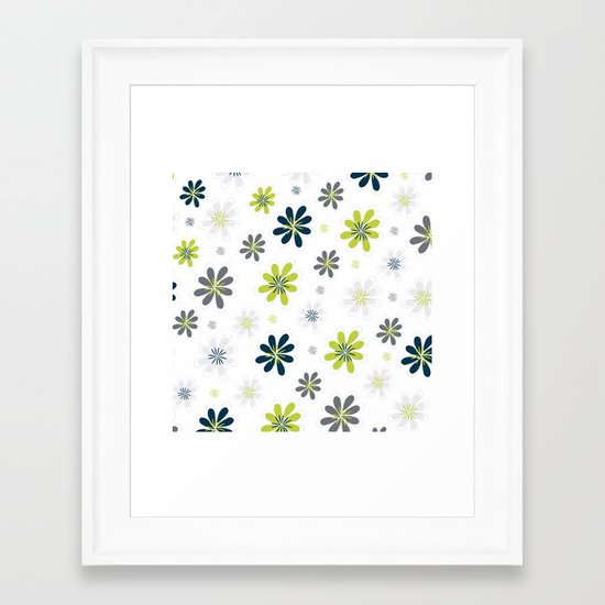 Simple Multi Flower Framed Art Print