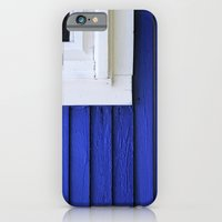 White window frame, blue clapboards iPhone 6 Slim Case