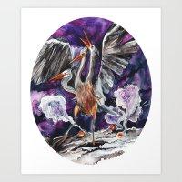 Three-headed Evil Bird God! Art Print
