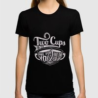 Two cups of tea Womens Fitted Tee Black SMALL