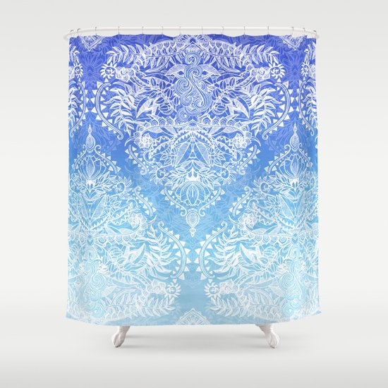 Out Of The Blue White Lace Doodle In Ombre Aqua And Cobalt Shower Curtain By Micklyn Society6