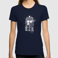 Time Lord Graffiti  Womens Fitted Tee Navy SMALL