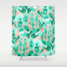Paddle Cactus Blush Shower Curtain