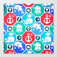 Marine Animals Geometric… Canvas Print