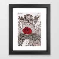 rose and grave Framed Art Print