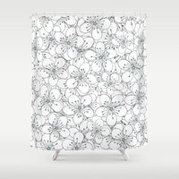 Cherry Blossom Blue - In… Shower Curtain