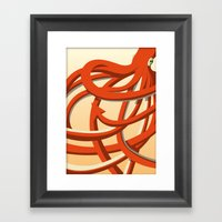Octopus Red Framed Art Print