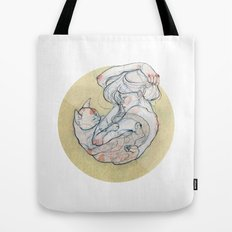 The lady and the cat. Tote Bag