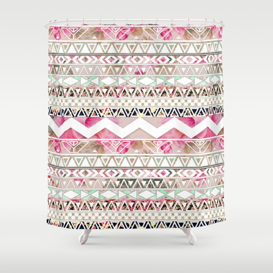 Aztec Spring Time! | Girly Pink White Floral Abstract Aztec Pattern Shower Curtain