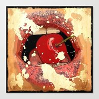Red Cherry Lips Canvas Print