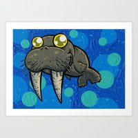 Blubba The Walrus Art Print