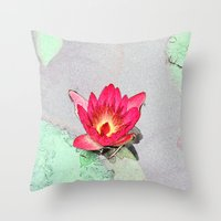 art style pretty pink waterlily flower  Throw Pillow