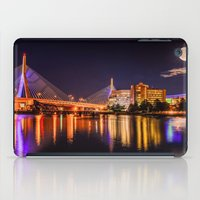 Moon light over Zakim bridge iPad Case