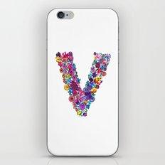 V Letter Floral iPhone & iPod Skin