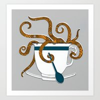 Octopus In A Teacup Art Print