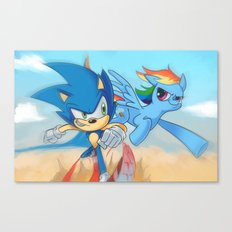 Sonic vs Rainbowdash Canvas Print