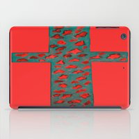 Coral & Teal Leopard Print Cross iPad Case