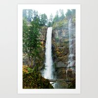 Multnomah Falls in Winter Art Print