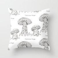 Cortinarius Laniger // Hand Drawn Fungi Series Throw Pillow