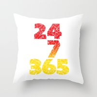 24-7/365 (Red hustle) Throw Pillow