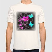 Flowers And Butterflies Mens Fitted Tee Natural SMALL