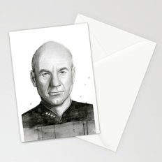 Captain Picard Watercolor Portrait Stationery Cards
