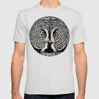 Round Owl Mens Fitted Tee Silver SMALL