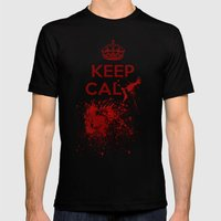 Keep calm? Mens Fitted Tee Black SMALL