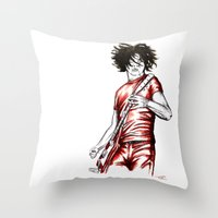 Jack White Red Watercolor Throw Pillow