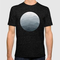 Silver Dew Mountains Mens Fitted Tee Tri-Black SMALL