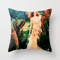Lady In The Garden - Painting Style Throw Pillow