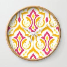 Ikat Damask - Berry Brights Wall Clock