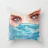 Forgotten, watercolor painting Throw Pillow