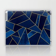 Blue Stone With Gold Lin… Laptop & iPad Skin