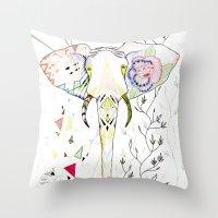 Elephant / June Throw Pillow